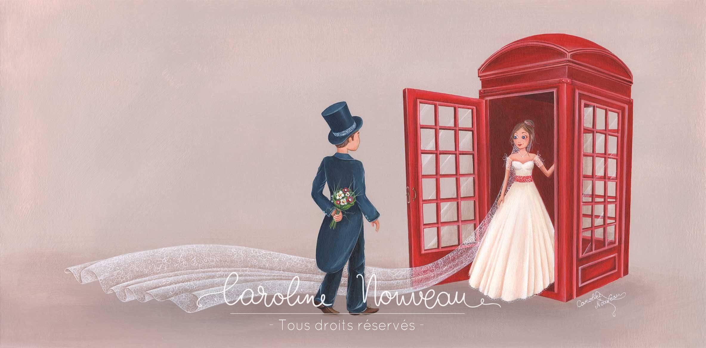 """""""Rencontre des mariés"""" Acrylique sur papier - 40*20cm - 2015 - Disponible 150€"""