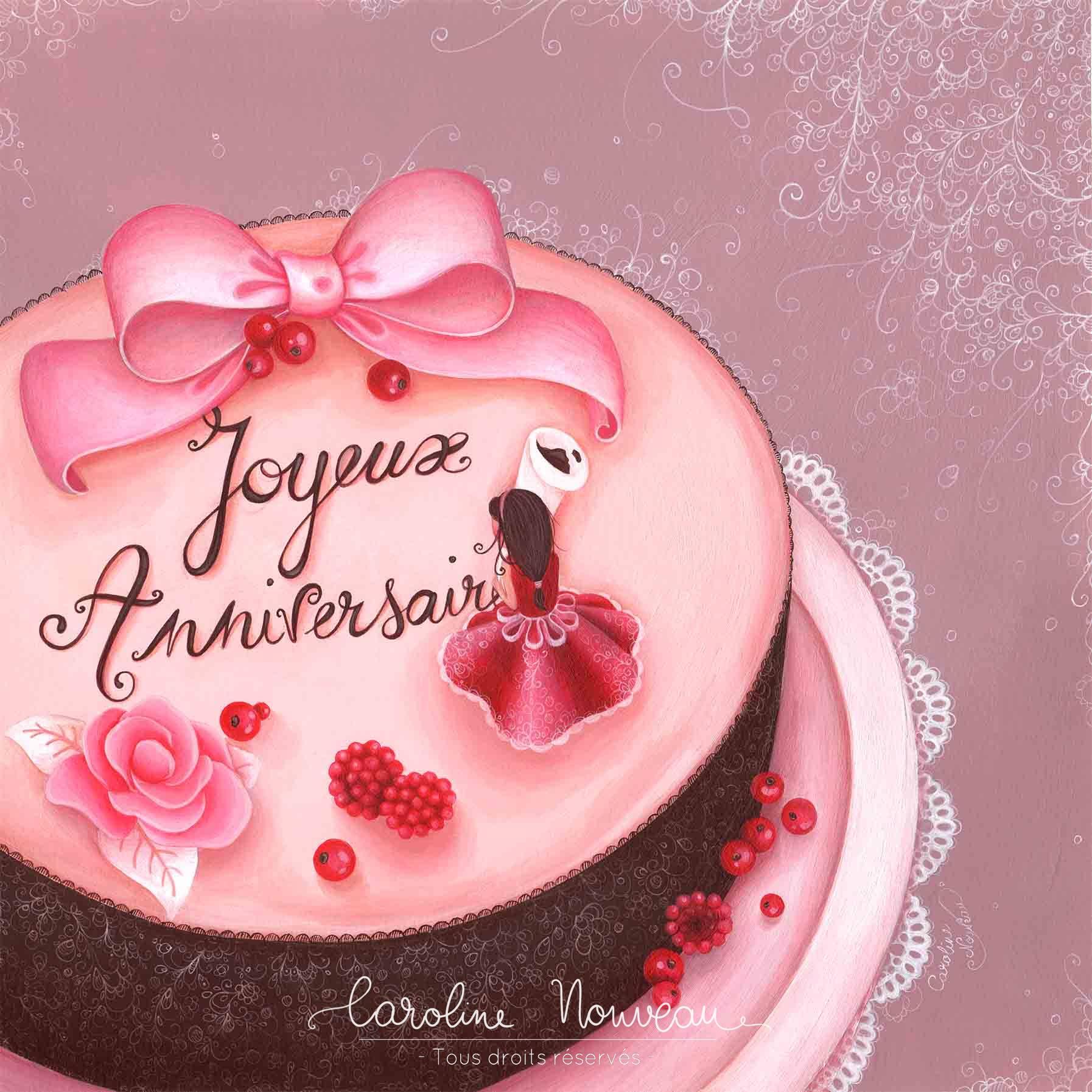 """""""Gâteau d'anniversaire"""" Acrylique sur papier - 30,5*30,5cm - 2013 - Disponible 150€"""