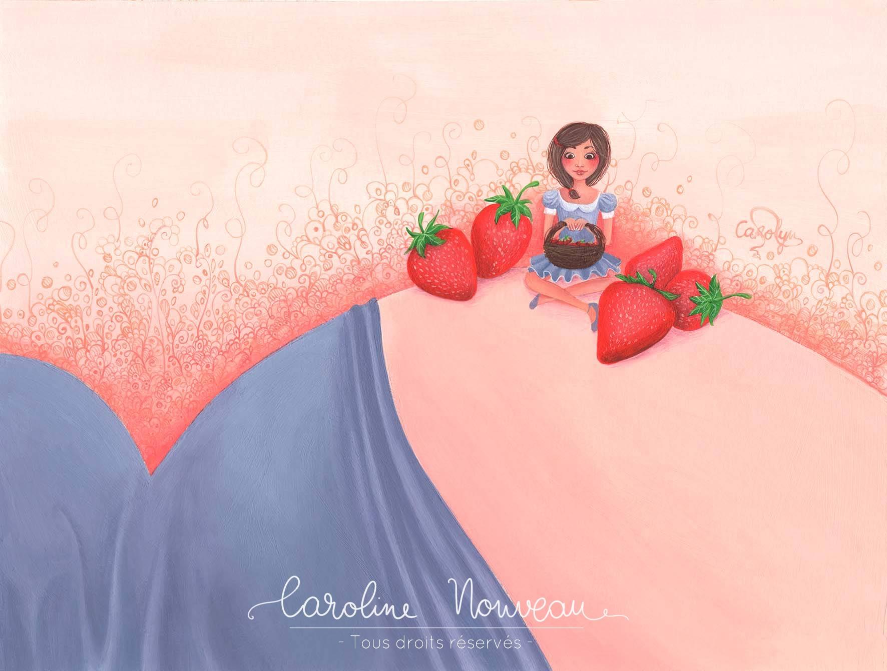 """""""Envie de fraises"""" Acrylique sur papier - 30*23cm - 2013 - Disponible 70€"""