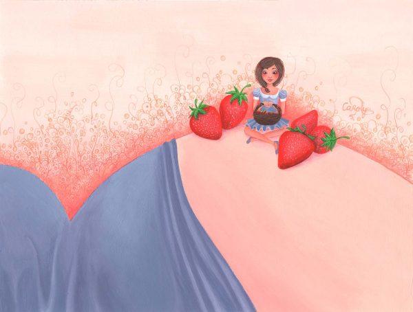 tableau dessin peinture maternite bebe naissance grossesse famille maman fraises