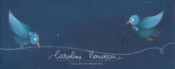 """""""Oiseaux bleus"""" Acrylique sur papier - 50*20cm - 2014 - Disponible 80€"""