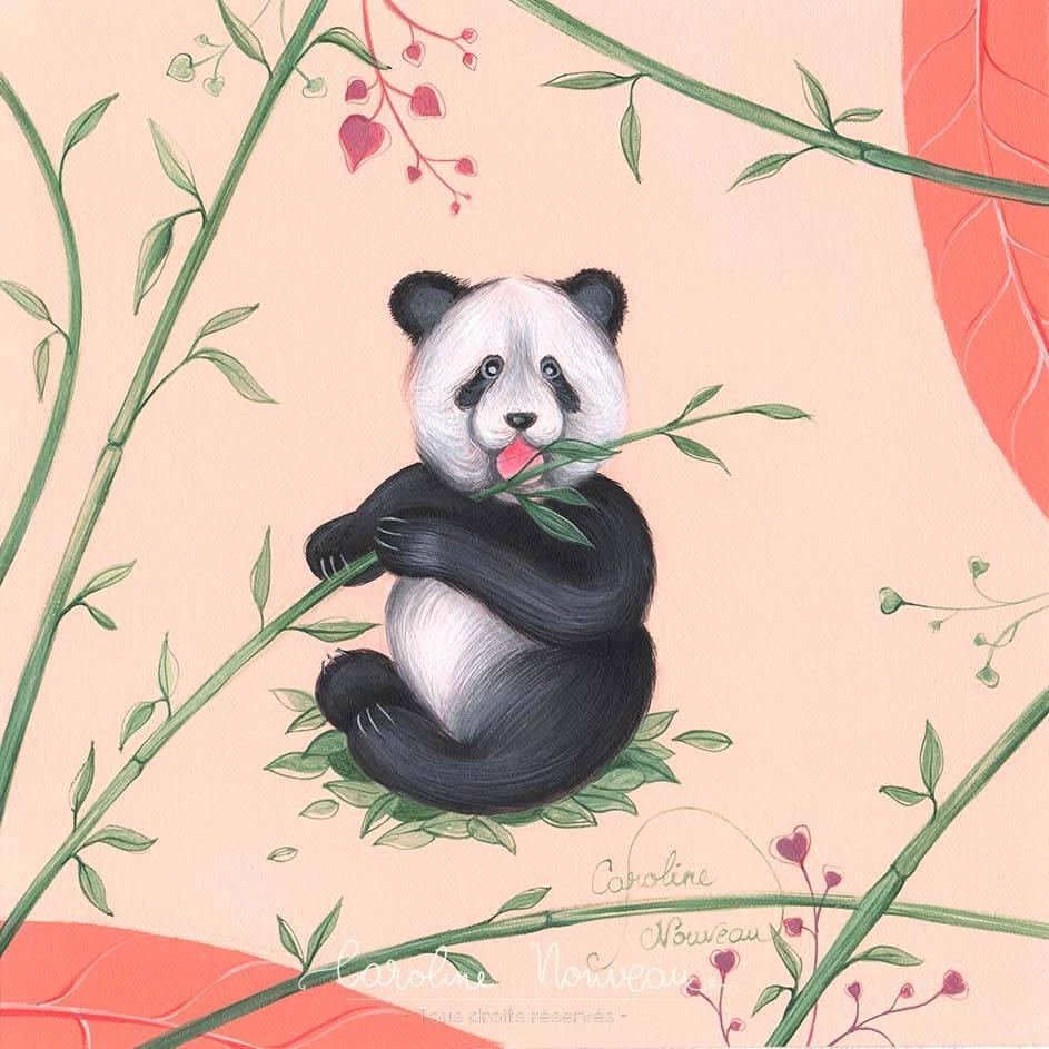 """""""Panda gourmand"""" Acrylique sur papier - 16*16cm - 2020 - Disponible 50€"""