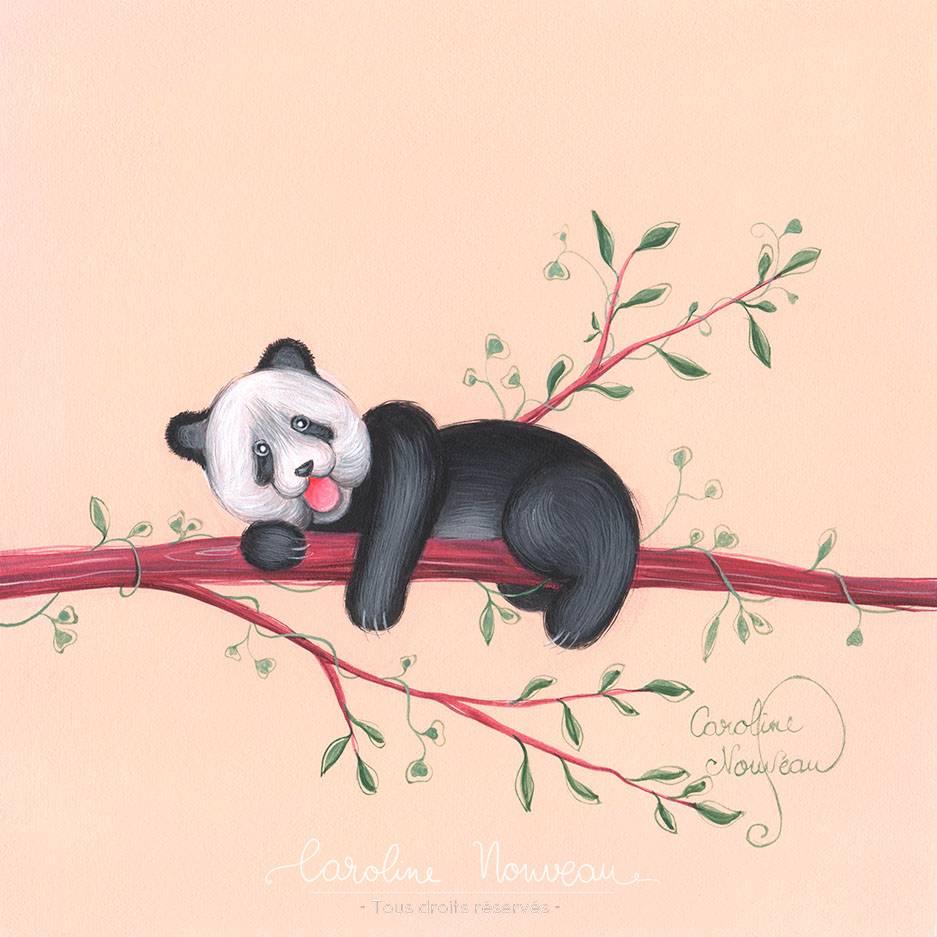 """""""Panda curieux"""" - Acrylique sur papier - 16*16cm - 2020 - Disponible 50€"""