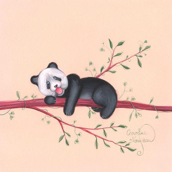 dessin illustration nature feuilles fleurs panda branche naissance