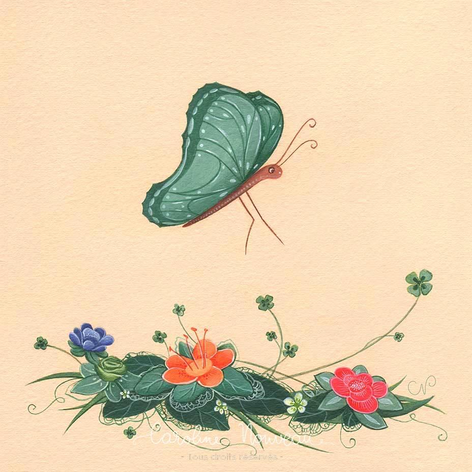 """""""Papillon fleurs"""" Acrylique sur papier - 16*16cm - 2020 - Disponible 50€"""