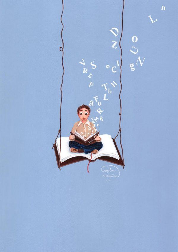 dessin illustration peinture balancoire livre mot lettres envol