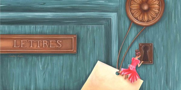 dessin peinture fille porte poignee lettre boite bois curiosite