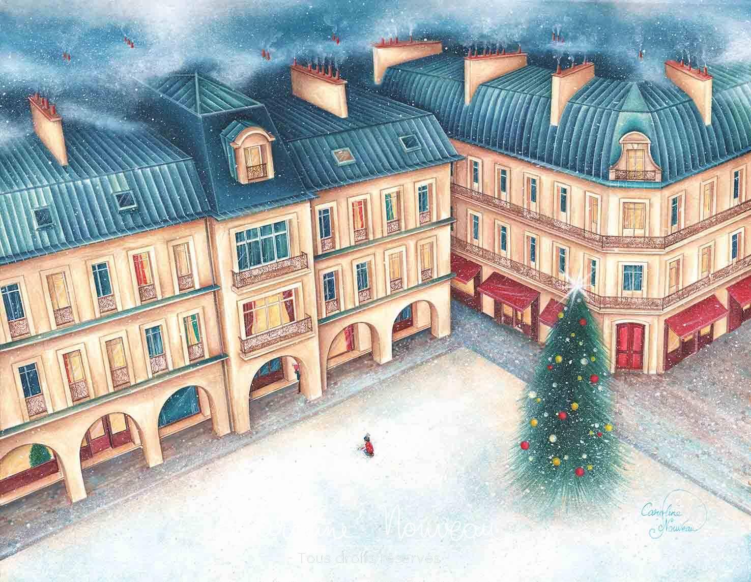 """""""L'hiver sur Paris"""" Acrylique sur papier - 45*35cm - 2019/2020 - Disponible 480€"""