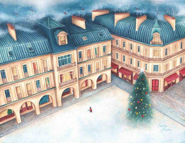 dessin peinture tableau fete noel toits paris neige hiver sapin decoration