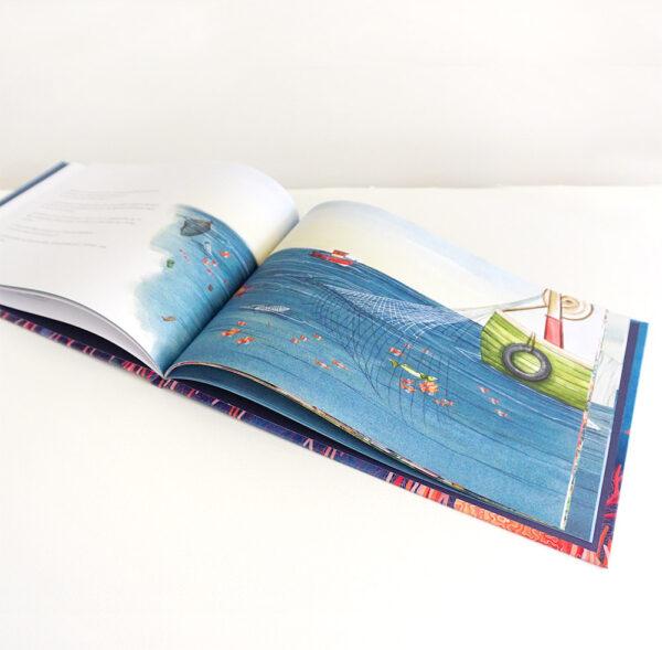dessin livre enfants ocean dechets poubelle poissons peche bateau