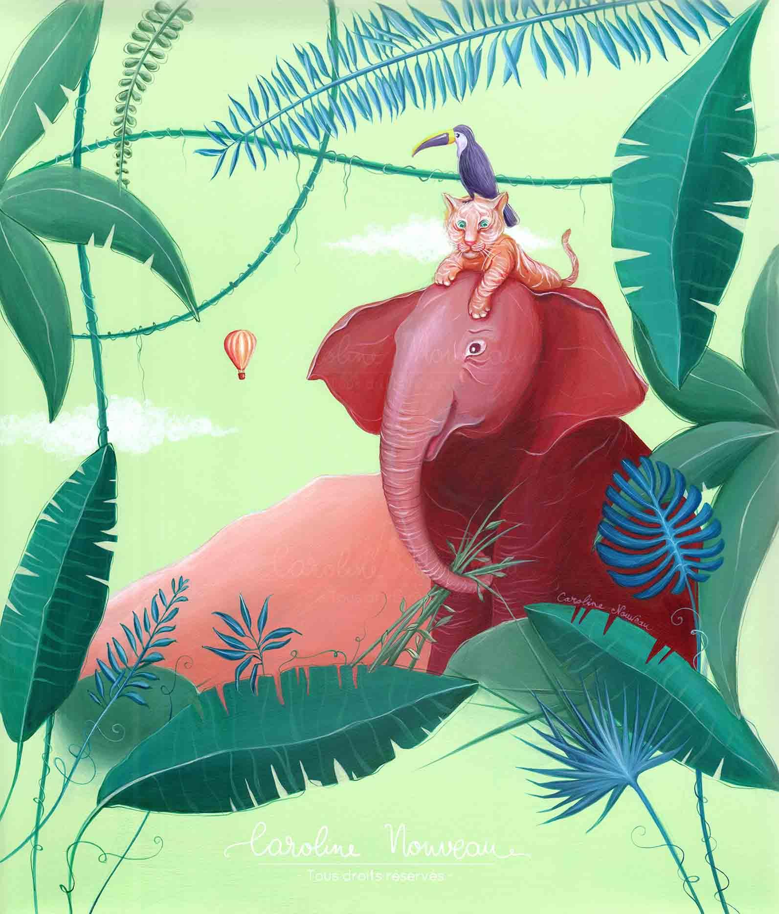 """""""Animaux de la jungle"""" Acrylique - Couverture pour un album photo d'enfant - 2020 - Non disponible"""